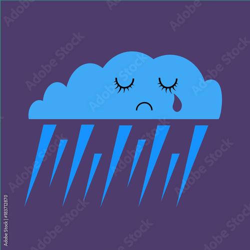 Raining - Sad emoji weather icon - simple vector illustration