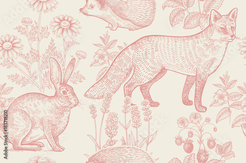 Seamless pattern with animals and flowers. - 183718210