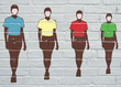 Grafitti. Silhouettes humaines aux maillots multicolores