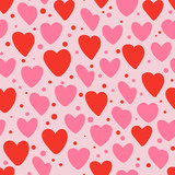 Cute seamless pattern with hearts. Vector illustration. - 183723639