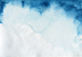 Watercolor blue color shape. Indigo paper texture. Abstract background with splash wet brush. - 183725404