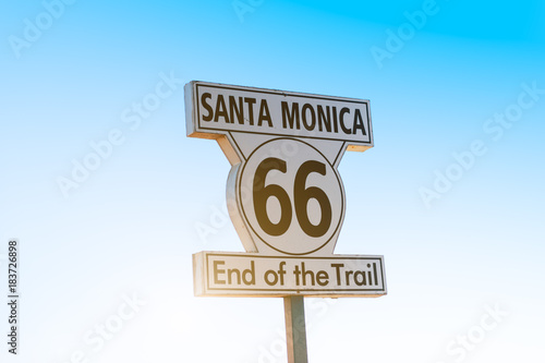 No.66 road sign,Los Angeles Poster
