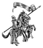 Medieval Knight on Horse Vintage Woodcut Style - 183727048
