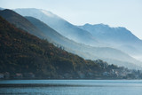 View of the city on the Adriatic sea coast in Montenegro. Misty landscape - 183727888