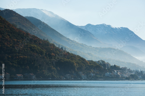 Papiers peints Morning Glory View of the city on the Adriatic sea coast in Montenegro. Misty landscape