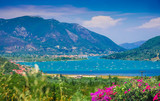 Beautiful panoramic view over Lefkada island with mountain and Ionian sea in Greece - 183728418