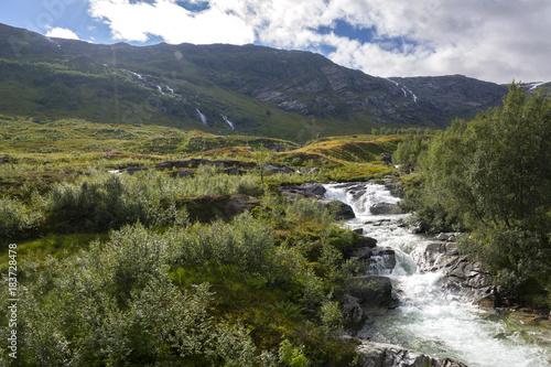 cascata nei dintorni di Haugesund in Norway - 183728478
