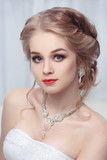 Portrait of a beautiful bride with blond hair. - 183728667