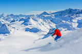 Skiing with amazing view of swiss famous mountains in beautiful winter snow  Mt Fort. The matterhorn and the Dent d'Herens. In the foreground the Grand Desert glacier. - 183728688