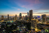 Bangkok city - Aerial view of Bangkok city downtown cityscape urban skyline at night , landscape Thailand - 183730294