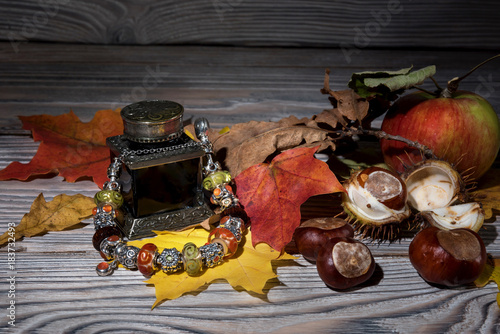 Silver bracelet for women with charms on a wooden table with chestnuts, apples and dry leaves Poster