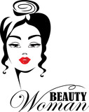 black and white face girl, vector emblem, beauty woman face, symbol beauty salon - 183733424