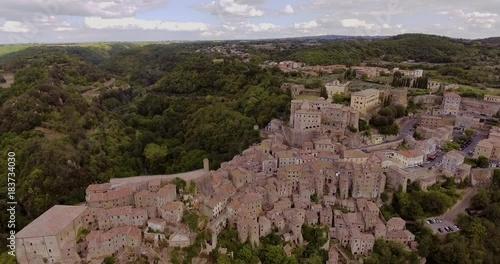 Sticker Aerial, beautiful town Sorano near Grosseto in Tuscany, Italy