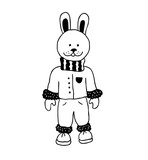 Funny rabbit. Nursery art. Minimalist scandinavian style. Character for kids card, print for t-shirt and more. - 183738292
