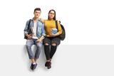 Teenage students sitting on a panel - 183741013