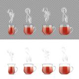 Transparent tea cup with hot black tea - 183743216
