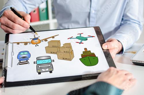 Sticker Transportation concept on a clipboard