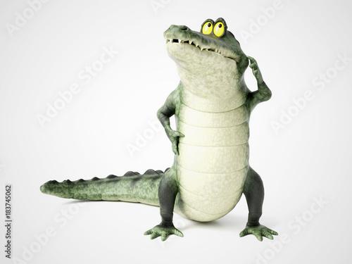 3D rendering of a cartoon crocodile thinking.