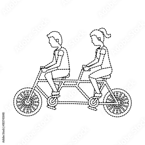 man and woman riding tandem bike icon image vector illustration design