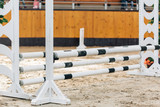 Show jumping barriers on the ground. Arena for equestrian sports - 183747836
