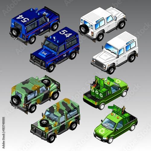 Sticker 3d isometric cars set