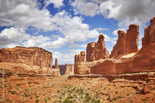 Park Avenue Trail view in Arches National Park, Utah, USA.