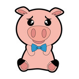cute pig emoji kawaii vector illustration design - 183753240
