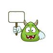 cute monster holding blank sign cartoon illustration - 183754095