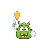 cute monster have idea cartoon illustration