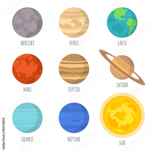 Vector illustration of the solar system planets, signed with the names of the planets.Isolated on white background - 183754834