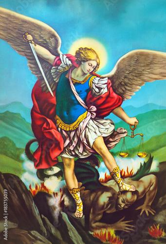 Aluminium Imagination San Michele arcangelo,immagine sacra di arte antica,popolare devozionale