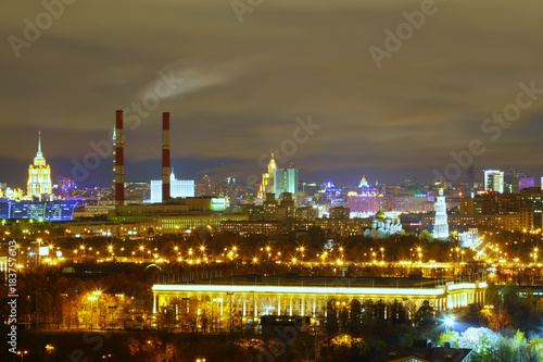 Plexiglas Moskou visible on the night Moscow