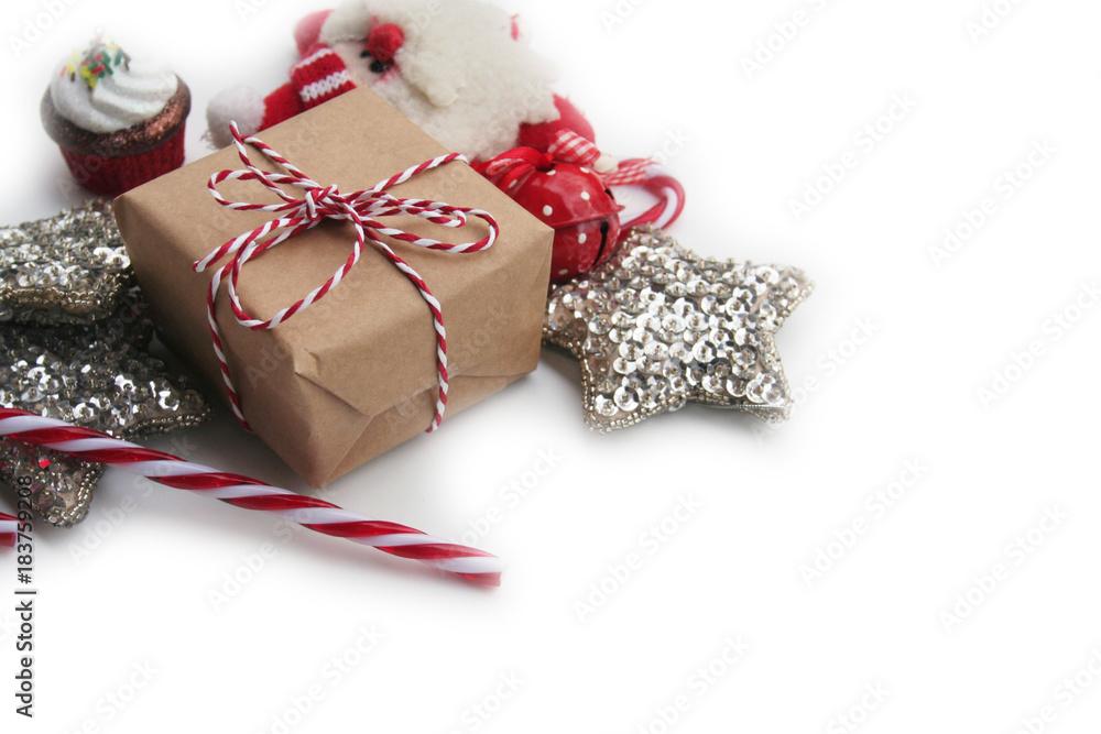 Sfondo Natalizio Pacco Regalo Con Fiocco E Decorazioni Di Natale Su