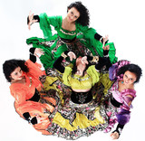 professional Gypsy dancing group in national costumes performing folk dance. - 183765437
