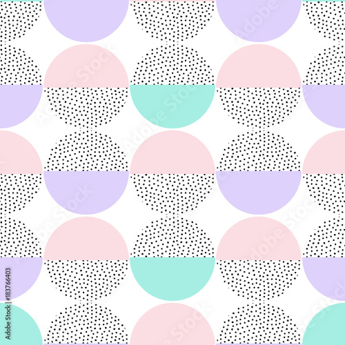 Vector seamless retro memphis pattern with round geometric elements. Trendy geometry in hipster style. Suitable for posters, covers, prints. - 183766403