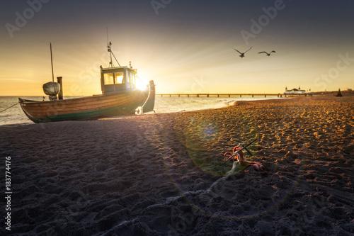 Poster Zee zonsondergang Kutter