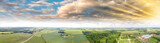 Panoramic view of beautiful countryside at sunset