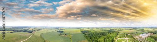 Plexiglas Olijf Panoramic view of beautiful countryside at sunset