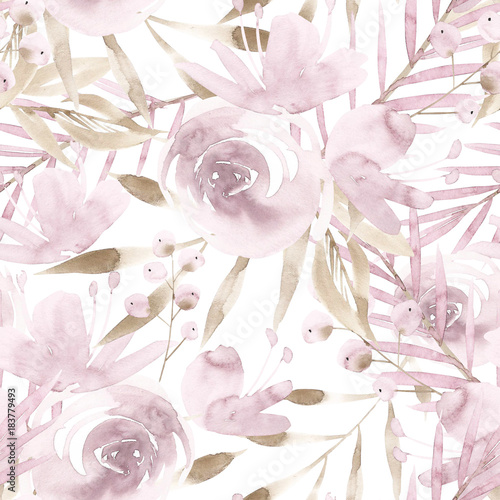 Pale pink roses and peonies with gray leaves on white background. Seamless pattern. Romantic garden flowers illustration. Faded colors. - 183779493