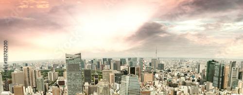 Amazing sunset panoramic aerial view of Tokyo skyline