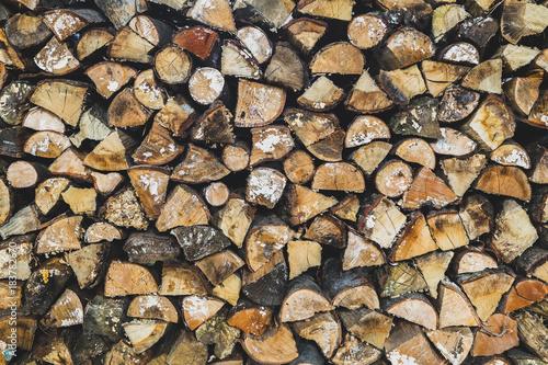 Foto op Canvas Brandhout textuur Leña apilada