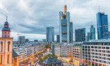 FRANKFURT, GERMANY - OCTOBER 31, 2013: Aerial view of main square at dusk. Frankfurt attracts 5 million visitors every year - 183787829