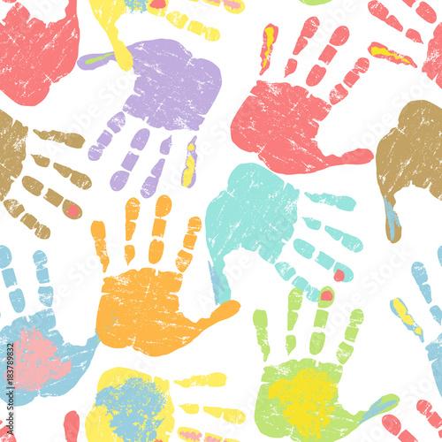 Prints of hands, seamless pattern, vector illustration