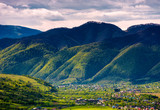 valley of Synevyr and Nehrovets villages. beautiful rural landscape of Carpathian mountains - 183790475