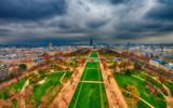 Champs de Mars and city skyline - Aerial view of Paris