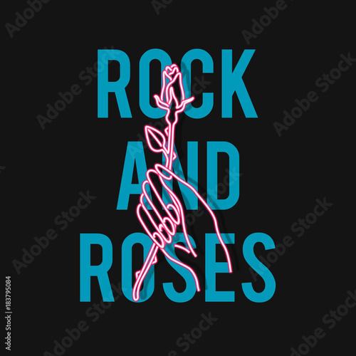 Hand with rose. Rock and roses slogan. Typography graphic print, fashion drawing for t-shirts .Vector stickers,print, patches vintage rock style