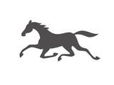 Running horse black silhouette. Vector illustration