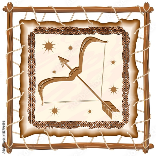 Foto op Canvas Draw Sagittarius Zodiac Sign on Native Tribal Leather Frame