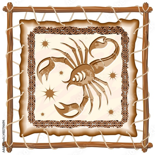 Keuken foto achterwand Draw Scorpius Zodiac Sign on Native Tribal Leather Frame