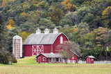 Large Red Barn and Hillside - 183800473